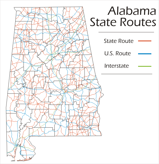 Alabama State Map Interstate Highways  2017  2018 Best
