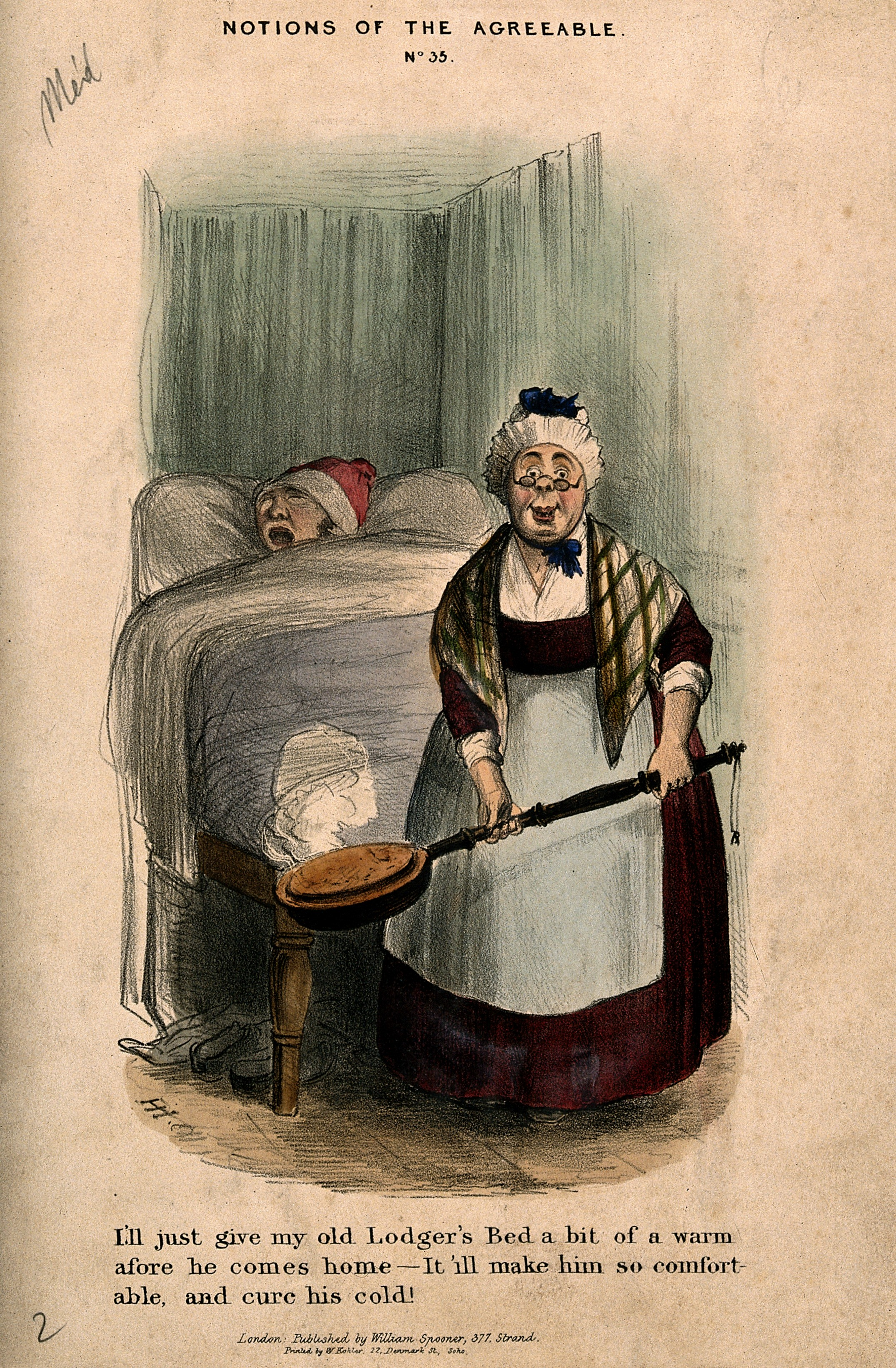 File:An elderly land-lady taking a warming-pan to put in her ...