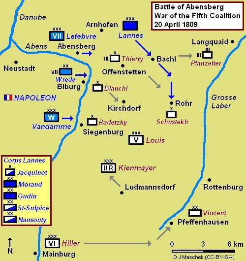 Battle of Abensberg map showing Lannes breakthrough at Bachl and Rohr Battle of Abensberg 1809.JPG