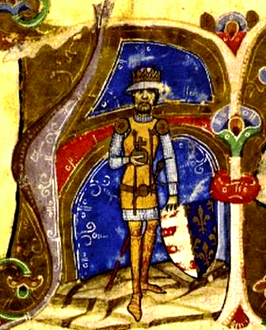 A bearded man in armours wearing a crown and holding a coat-of-arms which depicts the stripes of Hungary and the lilies of France