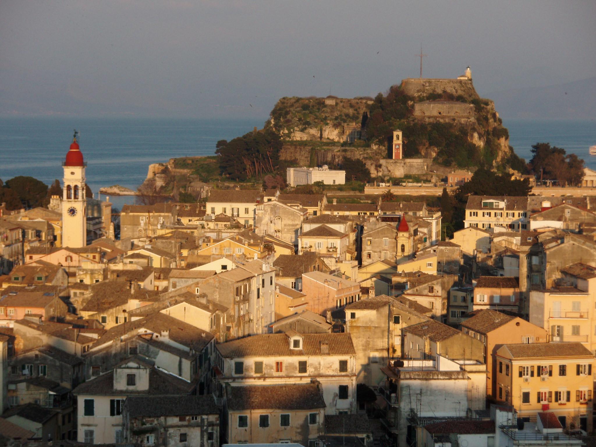 File:Corfu old town & Old Fortress.jpg