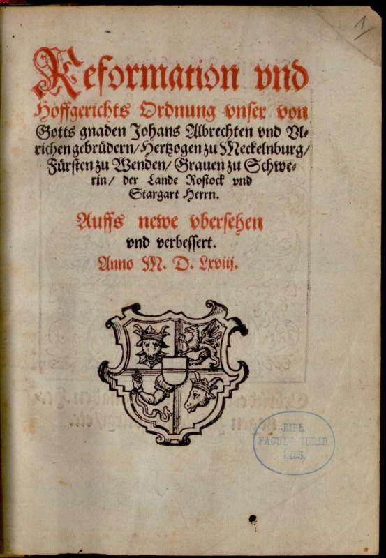 Dateideckblatt Reformation Und Hoffgerichts Ordnung 1568jpg