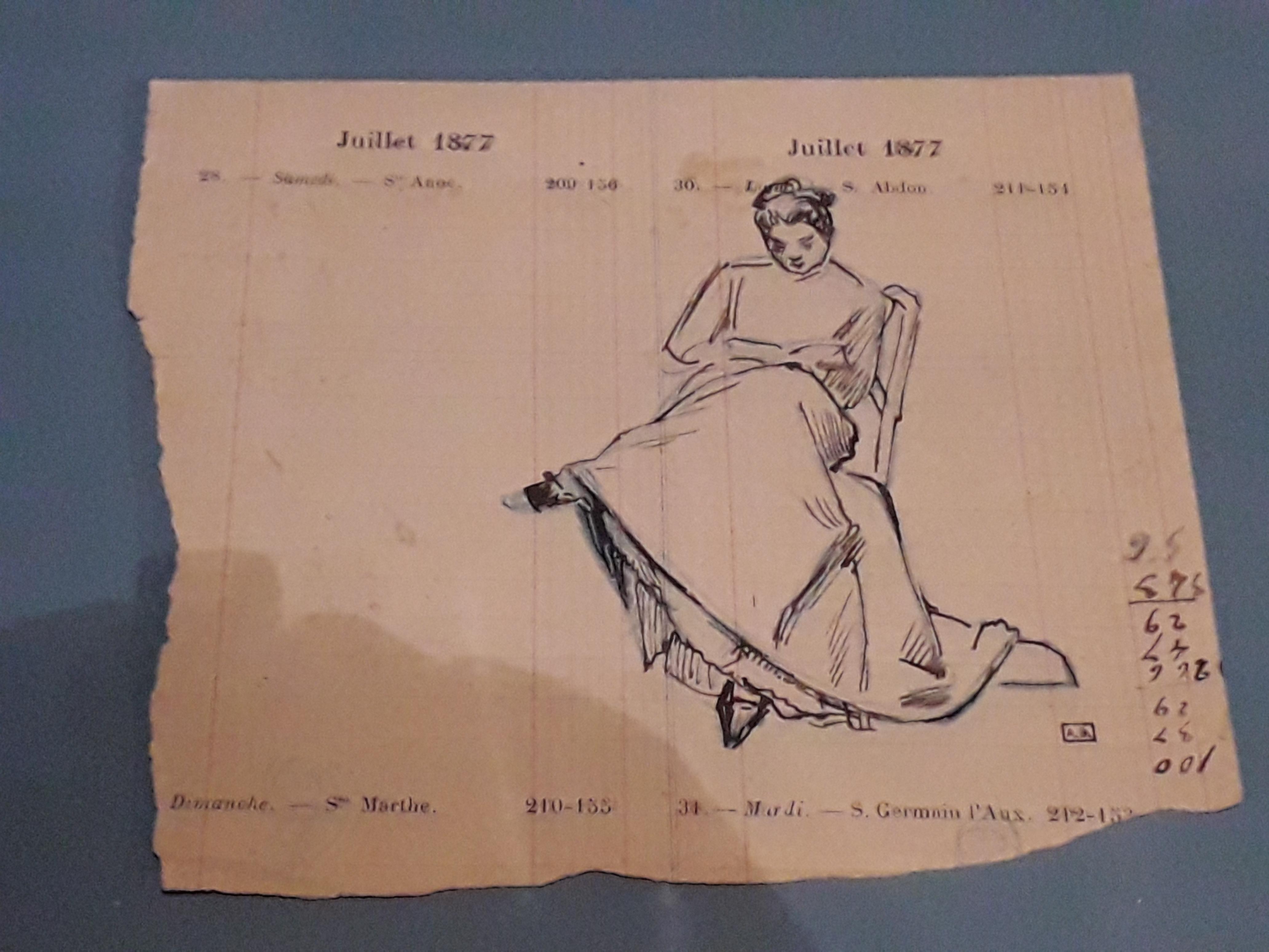 File Femme Lisant Dessin Par Jules Dalou 1877 Exposition Les