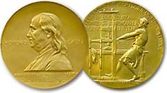 The Pulitzer Prize gold medal award 한국어: 퓰리처상 ...