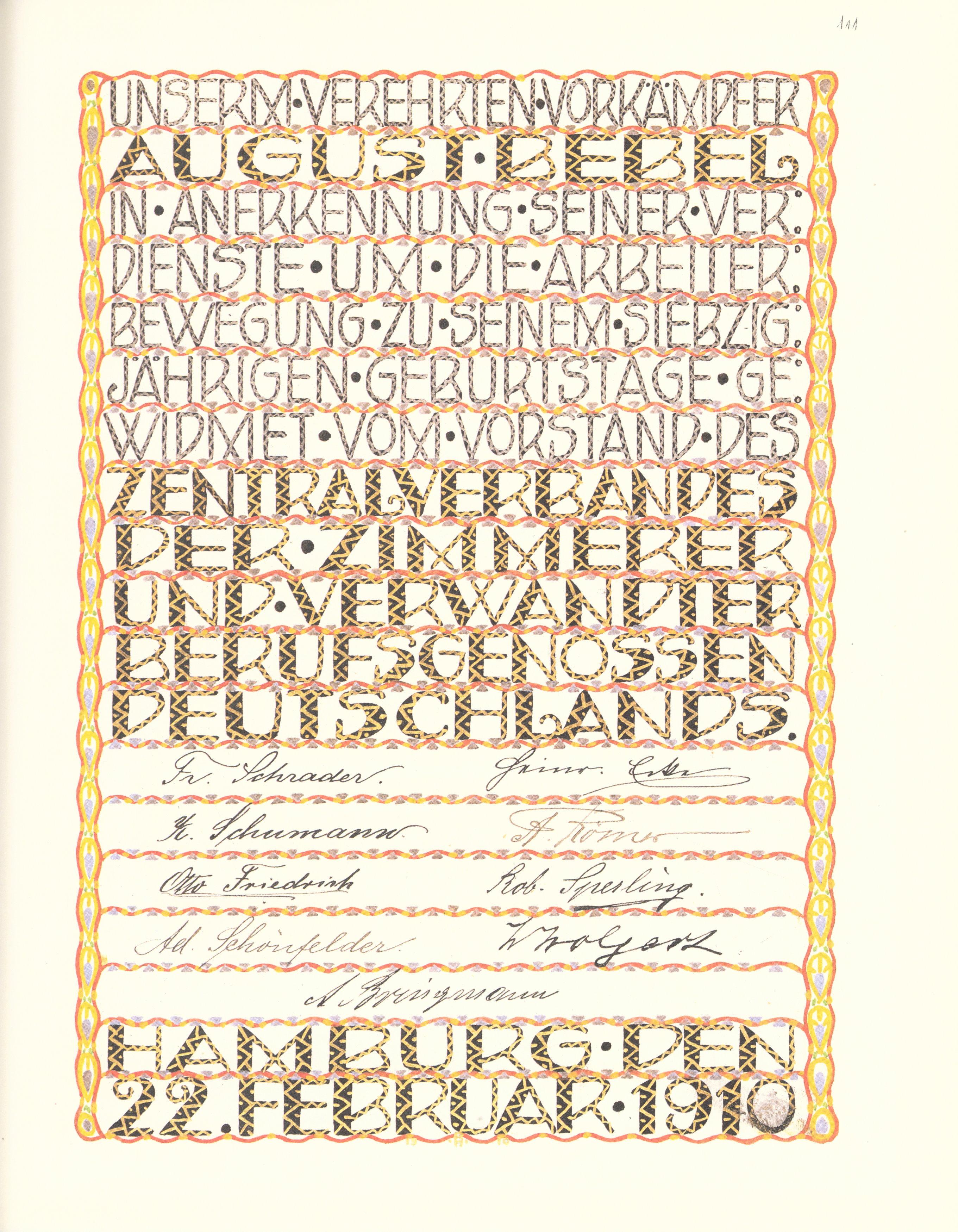 File Goldenes Buch Zum 70 Geburtstag August Bebel 1910 Seite 111
