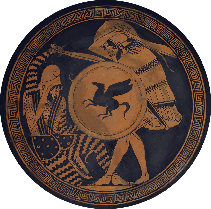 Greek hoplite in conflict with Persian warrior (5c BCE)