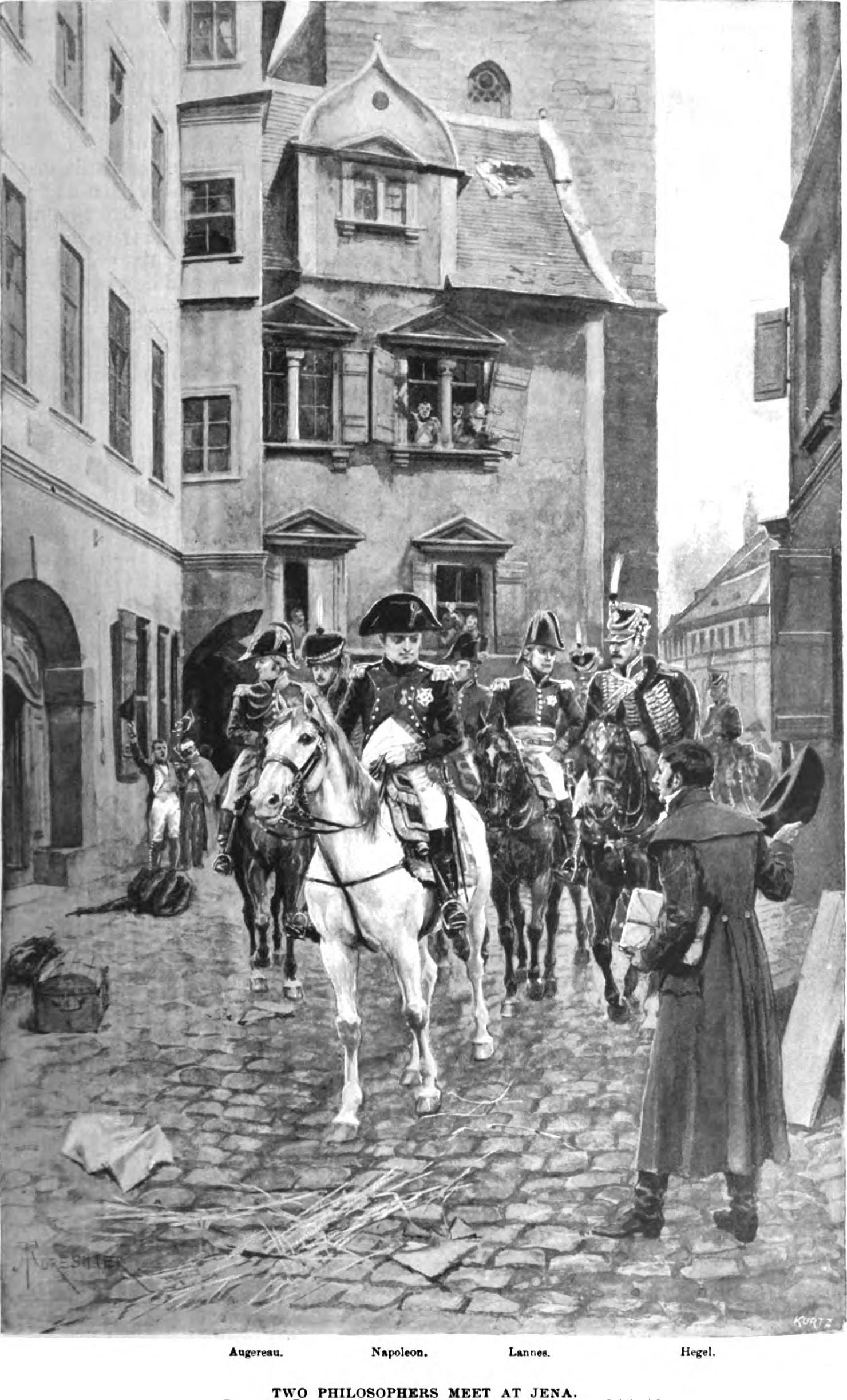 Гегель наблюдает за проездом Наполеона по Иене. Впоследствии Гегель называл Наполеона