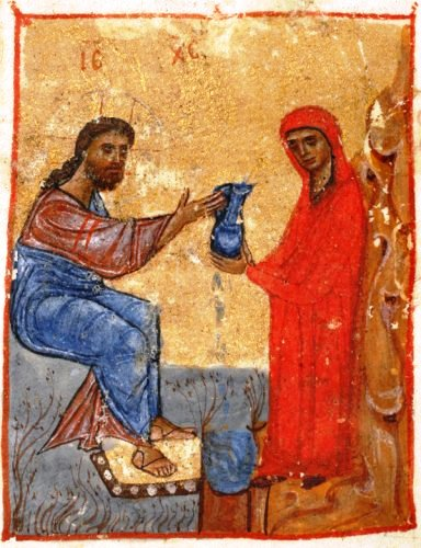 Jesus and the Samaritan woman (Jruchi Gospels II MSS, Georgia, 12th cent.)