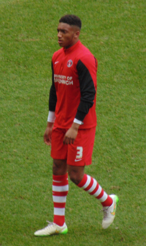 Gomez warming up for Charlton Athletic in 2015 Joe Gomez.png