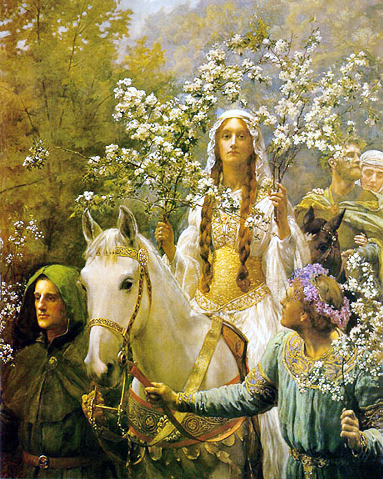 An image of Queen Guinevere as the May Queen.