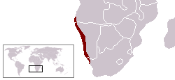 Approximate boundaries of the Namib Desert