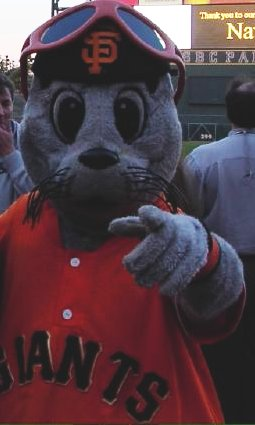 Lou Seal, the mascot for the San Francisco Giants.