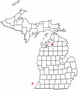 Location of Alba, Michigan
