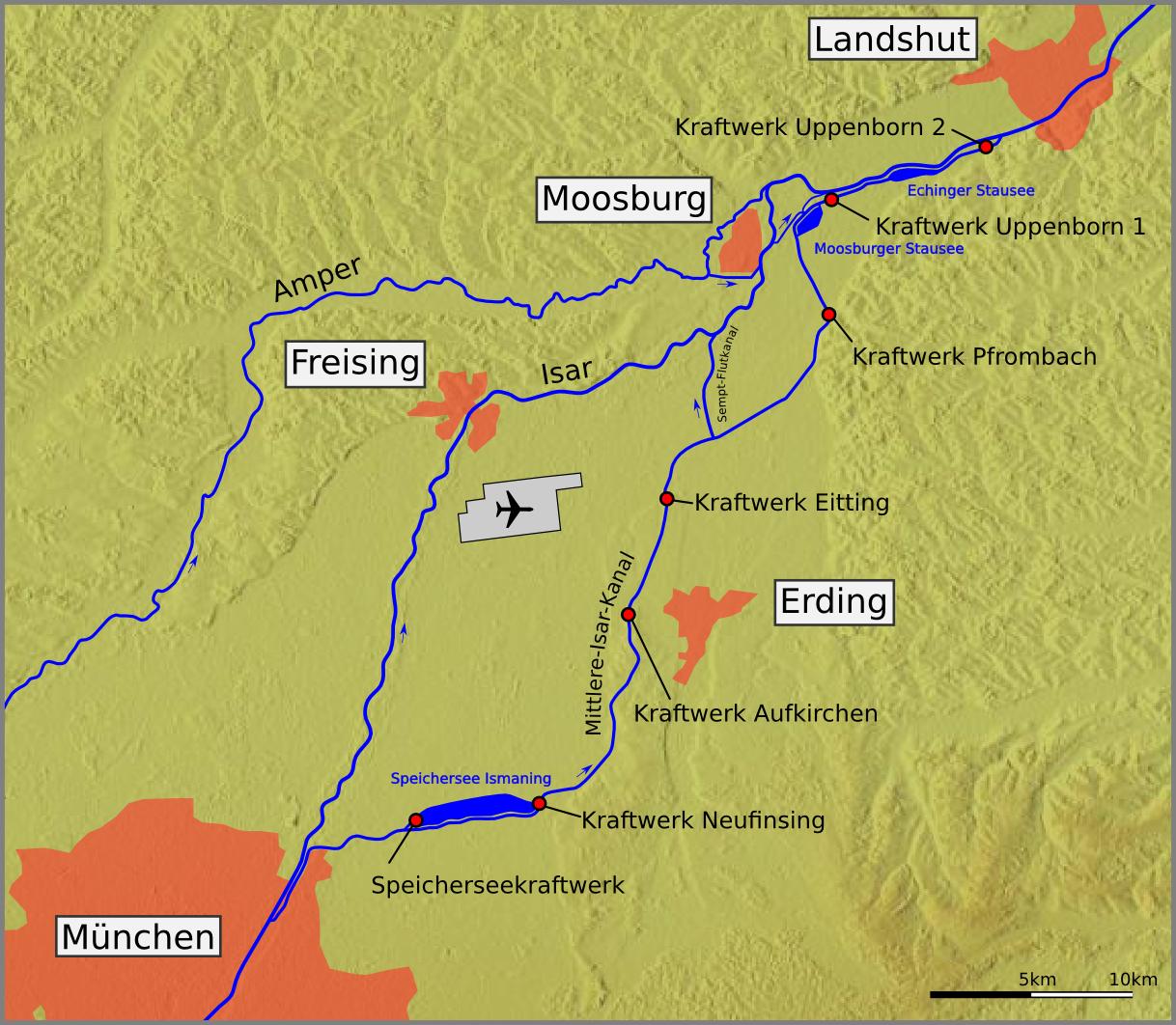 Isar Fluss Karte.Datei Mittlere Isar Kanal Karte Png Wikipedia