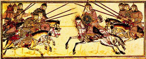 Mongol heavy cavalry in a battle