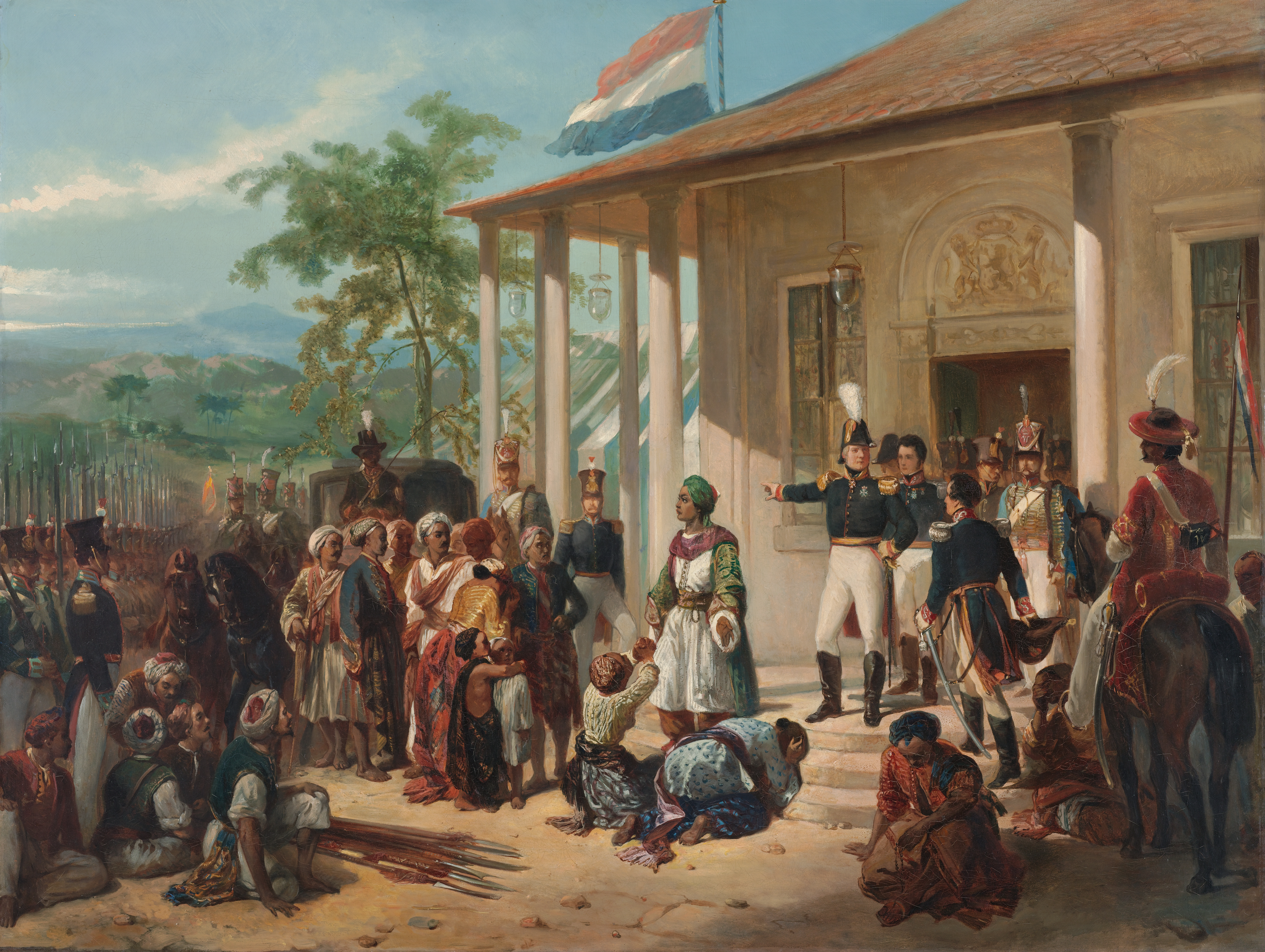 The submission of Prince Diponegoro to General De Kock at the end of the Java War in 1830 painting by Nicolaas Pieneman
