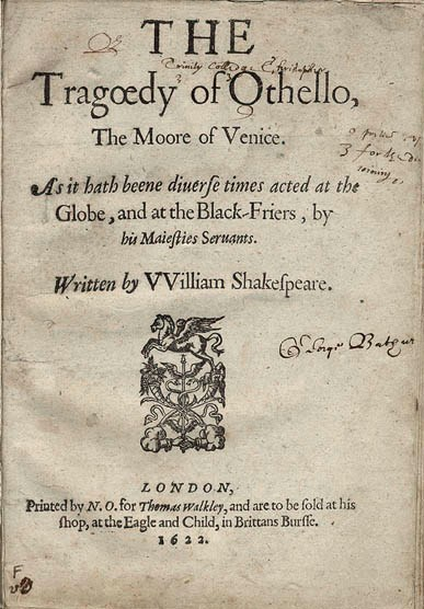 Title page of the first quarto (1622) Othello title page.jpg