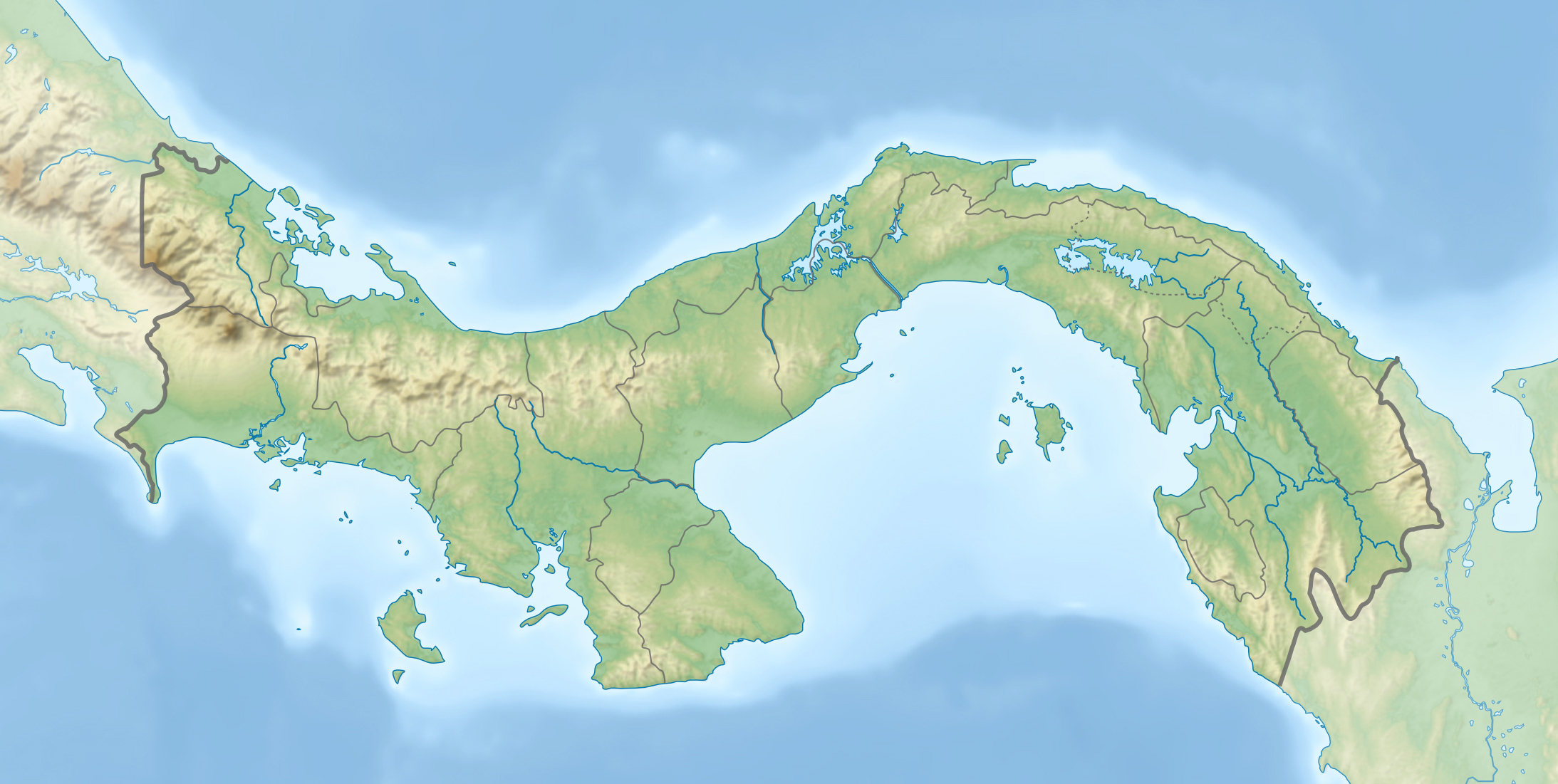 Topographic Map Of Panama.File Panama Relief Location Map Jpg Wikimedia Commons