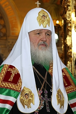 Kirill I is the current Patriarch of Moscow and all Rus' Patriarch Kirill of Moscow.jpg