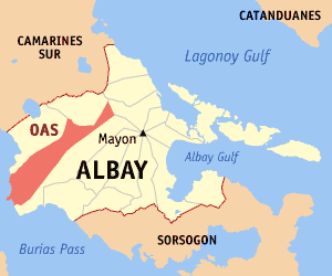 Map of Albay showing the location of Oas