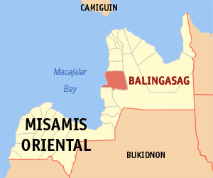 Map of Misamis Oriental showing the location of Balingasag