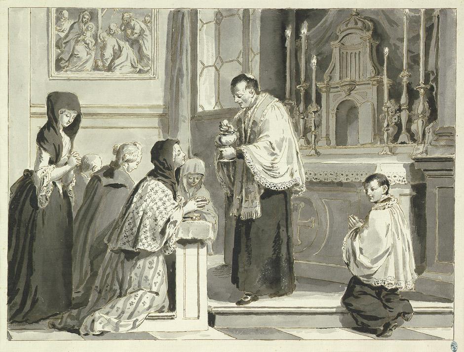 LES HEURES DE LA JOURNÉE CHRÉTIENNE, Où sont enseignées LES VOIES DU SALUT - France - année 1690 Pietro_Antonio_Novelli_Sakramente_Eucharistie