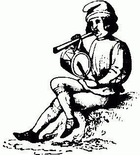 A Christmas minstrel playing pipe and tabor.