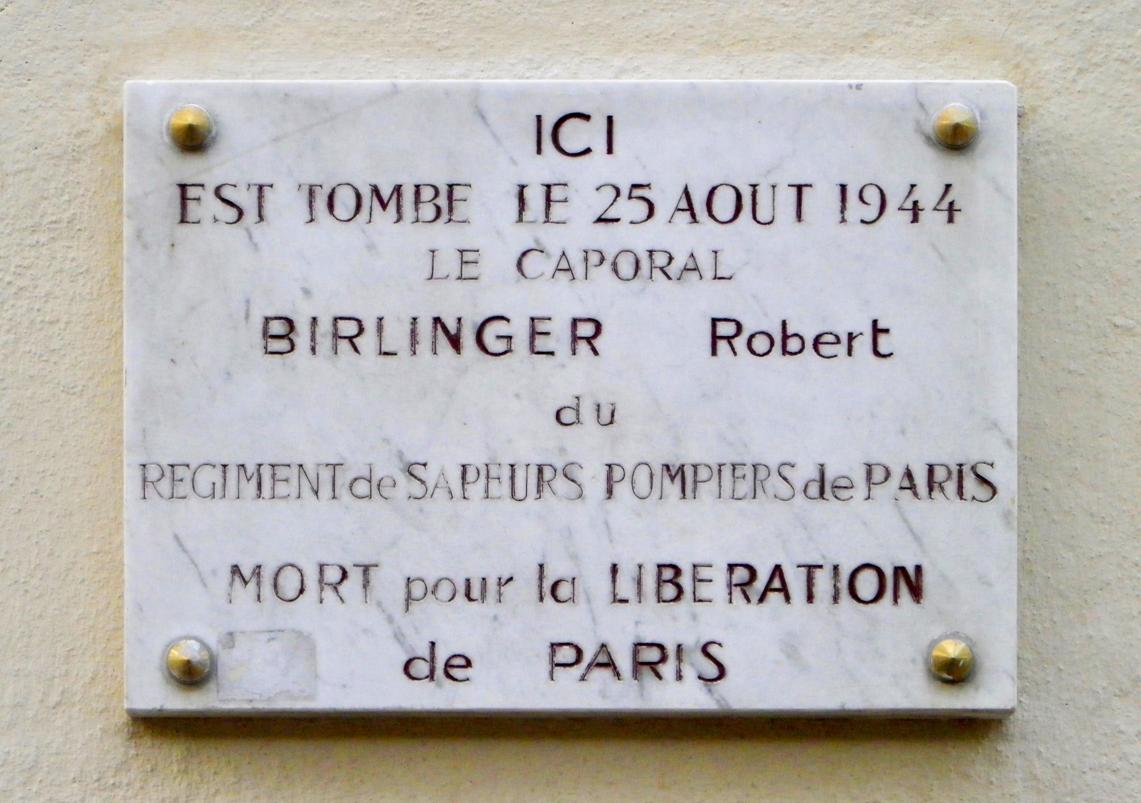 fichier:plaque robert birlinger au 92 avenue des champs-elysées à
