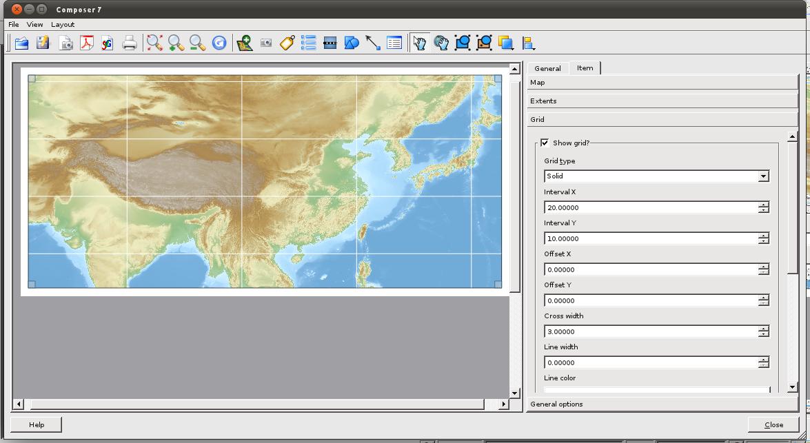 File:QGis Print composer output - 04 map Grid tab, show grid
