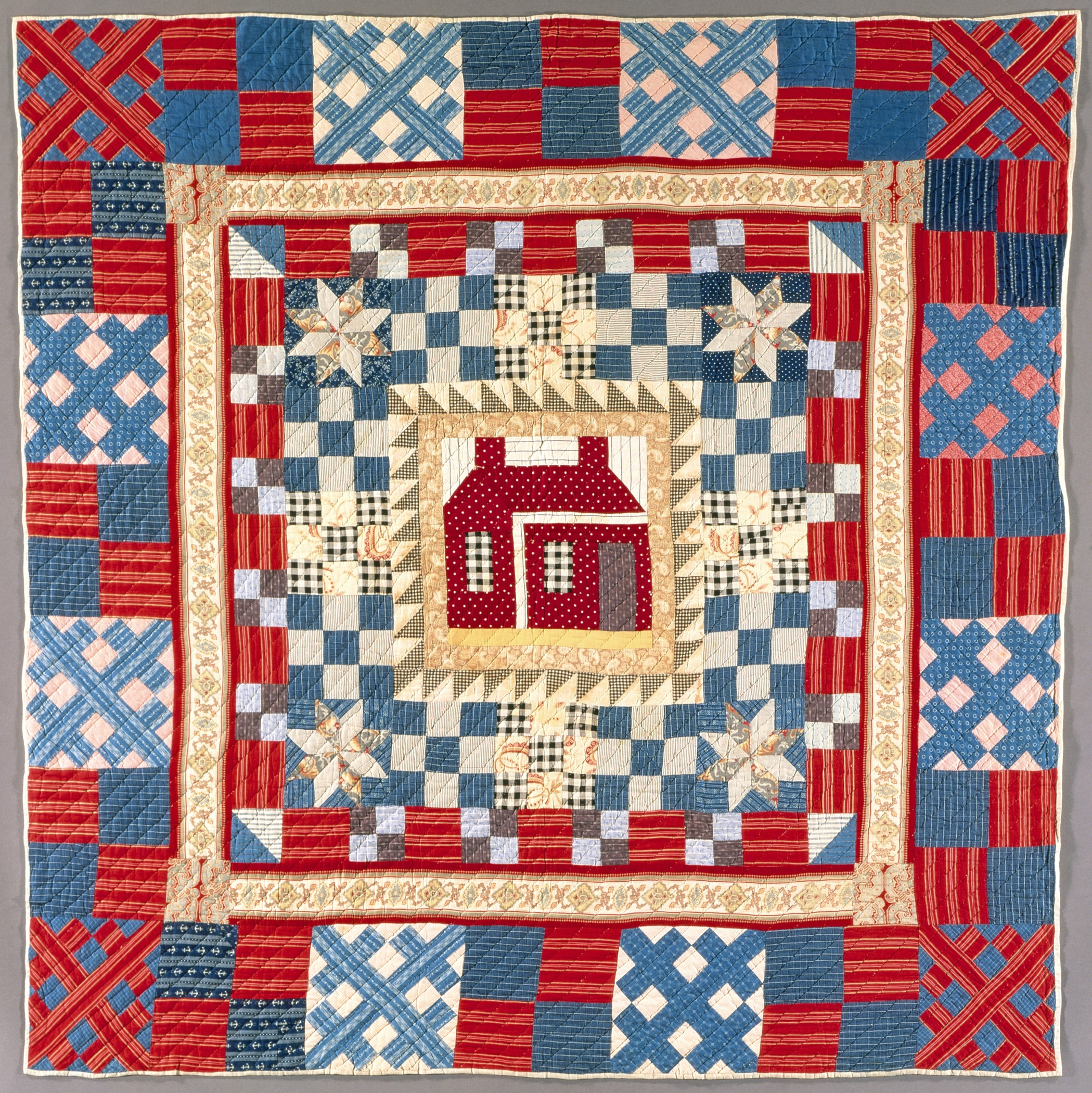 File:Quilt, 'House Medallion with Multiple Borders' LACMA M.87.226 ... : multiple quilt borders - Adamdwight.com