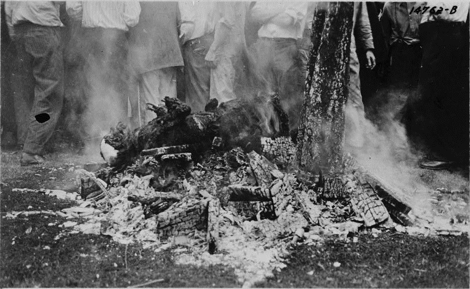 Remains of Jesse Washington's burned body and cinders after lynching in Waco, Texas.jpg