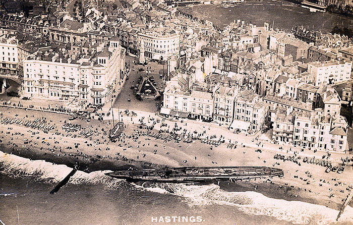The U-boat, number 118 washed ashore at Hastings Beach ...