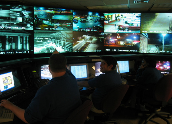 Operations center with video surveillance monitors