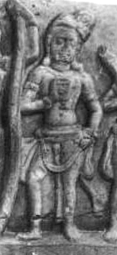 Samba, holding a cup, in the Kondamotu Vrishni heroes relief, 4th century CE.jpg