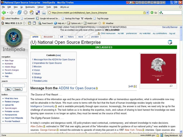 Screen shot of Intellipedia