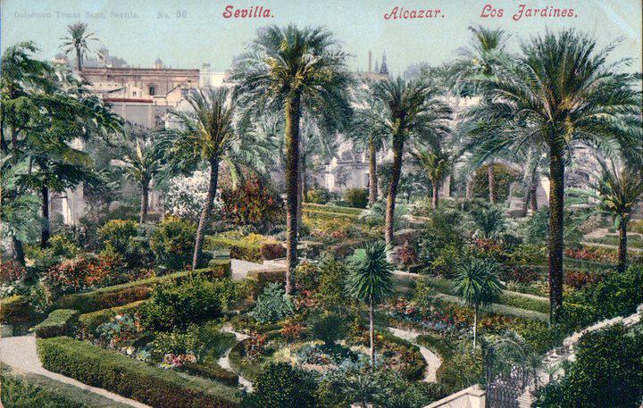 Les jardins du Real Alcazar de Séville sur cette ancienne carte postale.