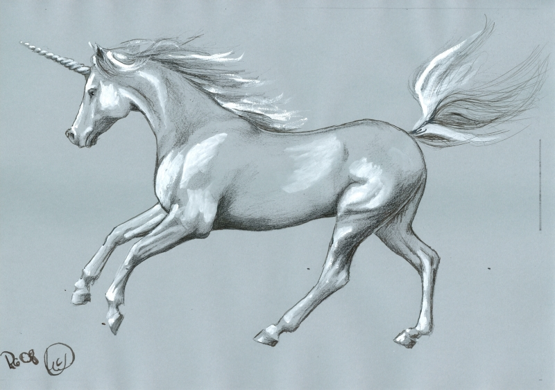 a drawn unicorn running
