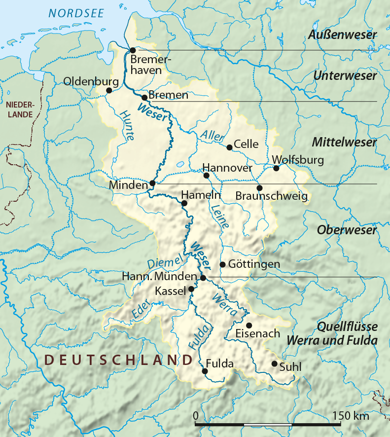 Drainage basin of the Weser River