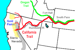 La ruta principal de Oregon Trail (línea verde) y el camino de California (línea roja ancha), incluyendo la ruta Applegate (delgada línea roja al norte).Main route of Oregon Trail (green line) and California Trail (thick red line), including Applegate Trail (northernmost thinner red line)