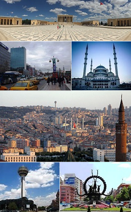 From top to bottom and left to right: Atatürk's Mausoleum, Kızılay Square, Kocatepe Mosque, A general view of the city centre, Atakule Tower and Hatti Monument on the Sıhhiye Square.