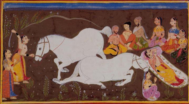 Illustration of the Ashvamedha of Kaushalya in the Ramayana epic.