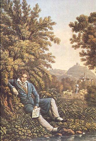 Lithographie de 1834 exposée à la Beethoven-Haus de Bonn, représentant Beethoven composant la Symphonie Pastorale.