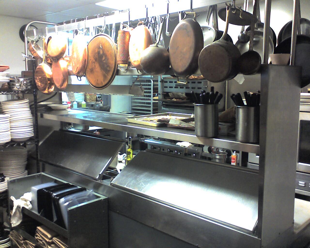 Restaurant Kitchen file:brass sauce pans and pots in italian restaurant kitchen