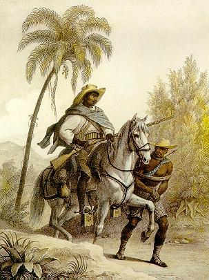 The Afro-Brazilian bounty hunter looking for escaped slaves, 1823, by Johann Moritz Rugendas
