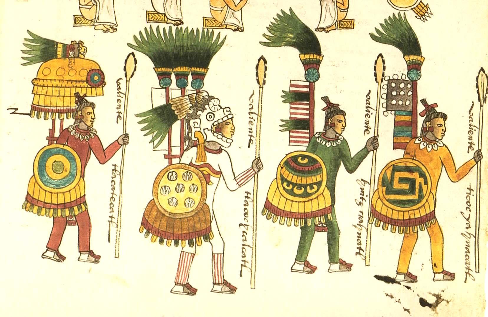 Guerreros que realmente existieron  en la Civilización Azteca Codex_Mendoza_folio_67r_bottom