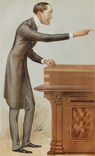 Mr. Edward H. Carson (as he then was) addresses Parliament. From Vanity Fair, 1893.