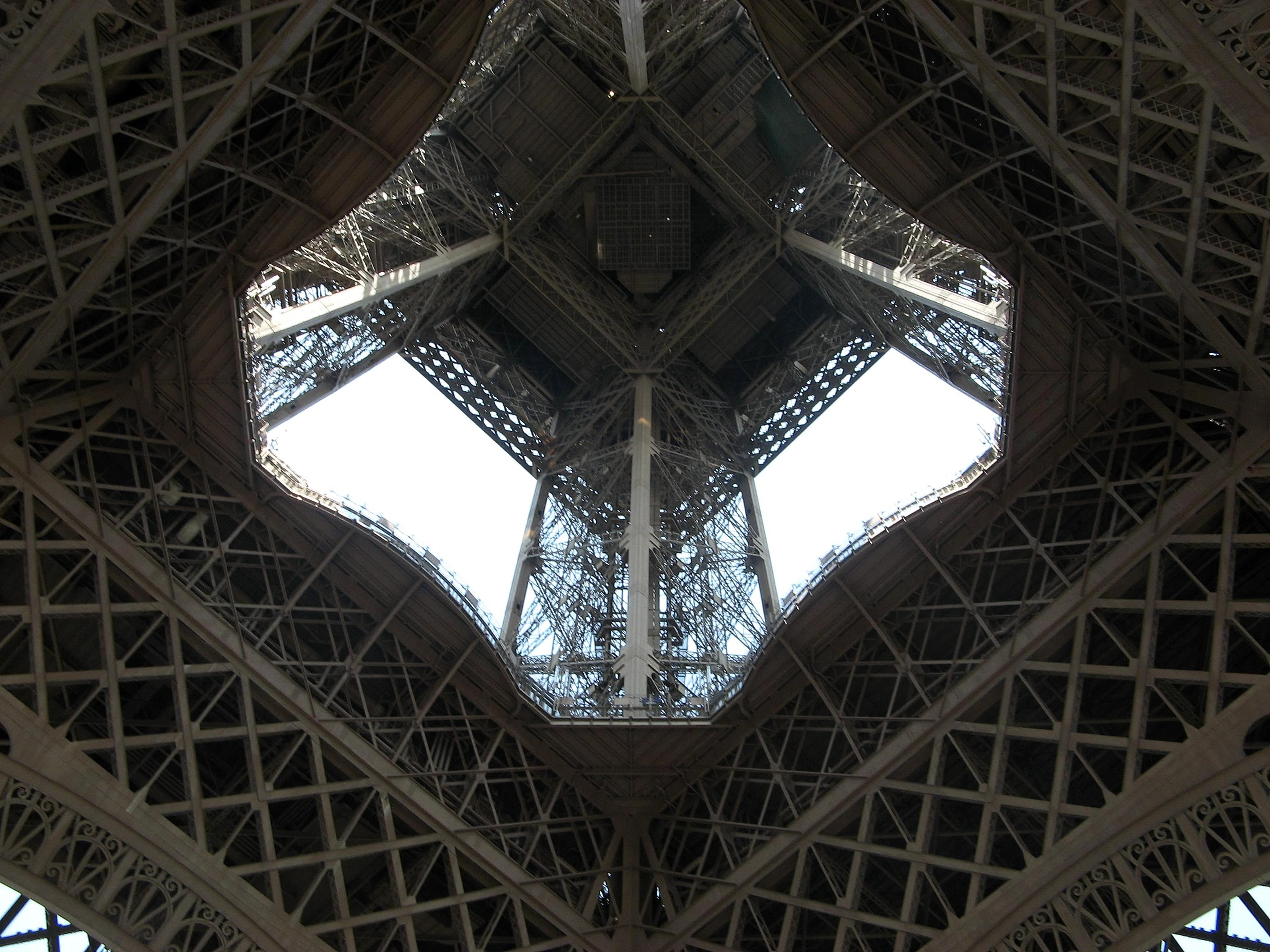 File Eiffel Tower From Inside Jpg Wikimedia Commons