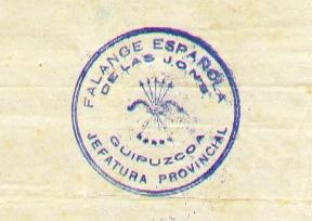 Deutsch: Stempel eines Dokuments der Falange E...