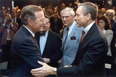 Hatch greeting President George H. W. Bush