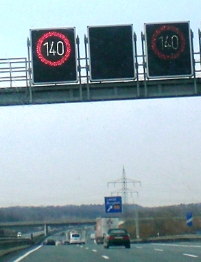 Speed Limit 140 km/h on the German Autobahn 2.